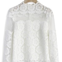Flower Dance Mesh Crochet White Top White