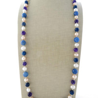 Freshwater pearl necklace, pink pearl necklace, blue and purple agate necklace, multicolor long gemstone necklace, uk jewellery