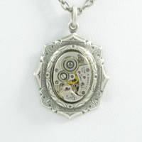 Neo Victorian SteamPunk Ornate Filigree Necklace with vintage Watch Movement