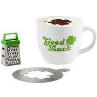 Present Time Cappuccino Mug Set with Mug, Grater and Choco Stencil, Good Luck: Amazon.com: Kitchen & Dining