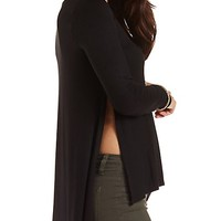 High Slit Long Sleeve Tee by Charlotte Russe