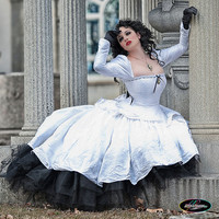 "Corseted White and Black Gothic Steampunk Wedding Gown ""Gothic Romance""- Custom to your size"