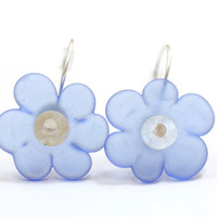 Blue Sea Glass Flower Bead Earrings Handmade Lampwork Sterling Silver