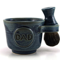 Blue Shaving Set for Dads: Black Badger Shave Brush, Mug with DAD Plaque, Shave Soap, Handmade Pottery Gift - Custom Made to Order