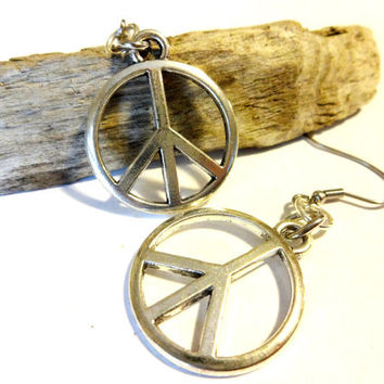 Cool Peace Sign Dangle Earrings, Hippie Peace Charm Jewelry, Cute Cool Accessories