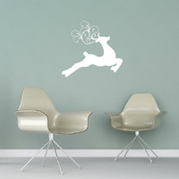 Reindeer Style C with Swirly Antlers Christmas Vinyl Wall Decal 22473