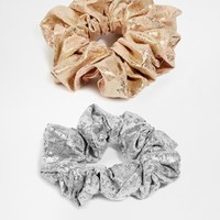 New Look Two Pack Metallic Jaquard And Foil Hair Scrunchies