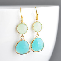 Apple green and mint blue zircon 16k gold earrings