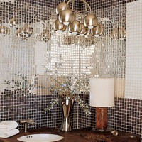 Shades of Black / Tile-decorated bathroom mirror