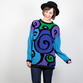 Vintage 80s Sweater New Wave Cosby Sweater 1980s Sweater Bright Teal Blue Purple Green Swirl Abstract Print Pullover Jumper Knit L Large