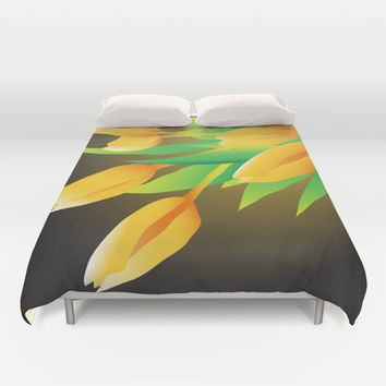Yellow Tulips Duvet Cover by Ramon Martinez Jr