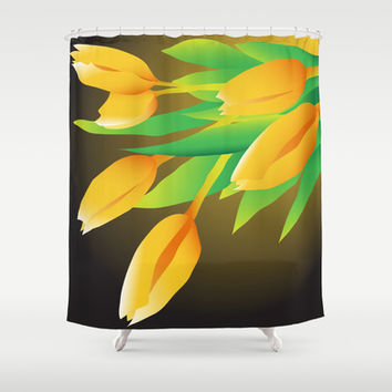 Yellow Tulips Shower Curtain by Ramon Martinez Jr