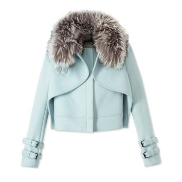 Wes Gordon Crossover Jacket - Fur Hood Jacket - ShopBAZAAR