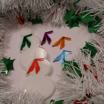 Snowman ornament with your  choice of scarf color with  white acrylic