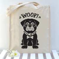 Pug Dog Canvas Tote