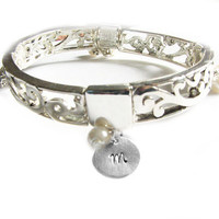 Pearl Initial Bracelet Hand Stamped Bangle Stretch Charm Swirl Jewelry