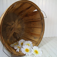Farm Fresh From the Barn to You - Vintage Oversized Round Wooden Fruit Basket - Large Photo Prop Bin Rustic Primitive Farm Fresh Catch All