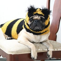 Bumble Bee Dog Clothing Gift Set - Dog Hat and Dog Sweater Set- Made to Order