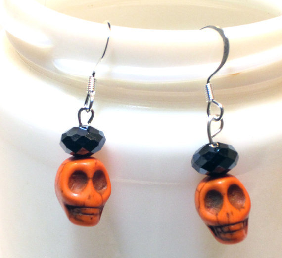 Skull Earrings Halloween Orange and Black