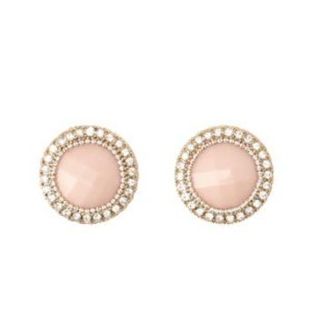 Rhinestone-Trimmed Faceted Stone Earrings - Lt Pink