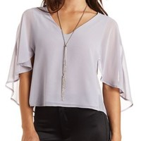 Caped Chiffon Swing Top by Charlotte Russe - Silver Gray