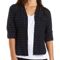 Checked Plaid Button-Up Top by Charlotte Russe