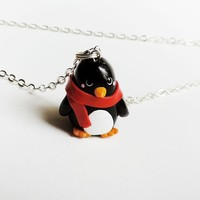 Winter Penguin in a Red Scarf Necklace