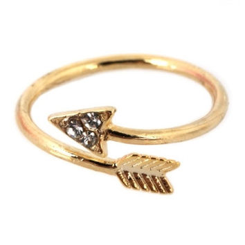 Crystal Arrow Wrap Around Ring - Gold – H.C.B.