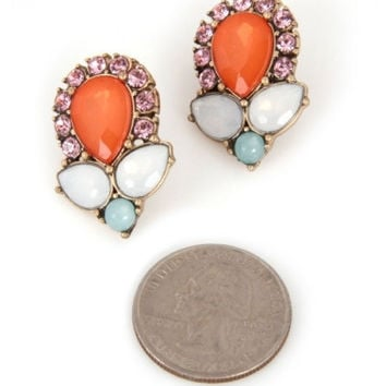 Retro Jeweled Earrings - Coral/Multi – H.C.B.