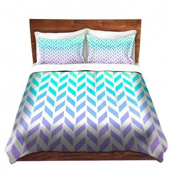 DiaNoche Designs Unique Decorative Designer Duvet Covers and Shams | Organic Saturation's Ombre Herringbone Pattern
