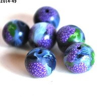 Purple Lilac Flower Beads, Polymer Clay, Blue Round, Jewelry Supplies