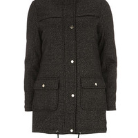 Black And Grey Textured Wool Parka