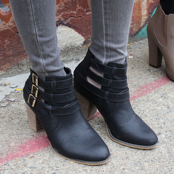 """Cage"" Leather Triple Buckle Stacked Heel Booties - Black – H.C.B."