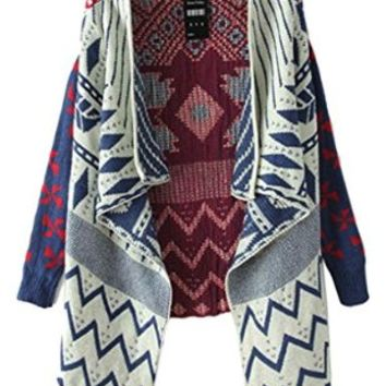 Jollychic Women Geometric Tribal Pattern Draped Collar Long Sleeve Open Cardigan