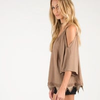 Cold Shoulder Embroidered Triangles Top - Brown - Brown /