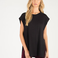 Side Slit Oversized Sleeveless Top - Black - Black /