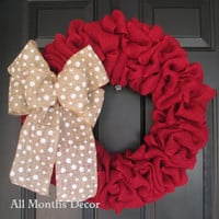 Red Burlap Wreath with White Polkadot Burlap Bow, Rustic Country Decor, Fall Winter Christmas Holiday Year Round, Fall, Porch Door