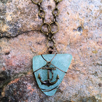 Turquoise Sea Glass Necklace on Antique Bronze Chain w/ Nautical Charm