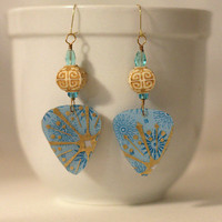 "Light blue and gold ""Guitar Pick"" earrings, beaded dangle earrings. Brass."