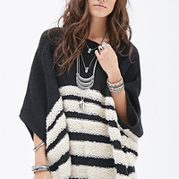 Loop-Knit Striped Poncho