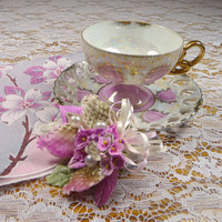Vintage Pink Teacup & Saucer Pedestal Rossini Lusterware with Vintage Dogwood Hankie and Thistle Corsage Gift Set
