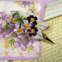 Vintage Hankie and Lovely Lavender Wildflower Tussie Mussie Pin Gift Set