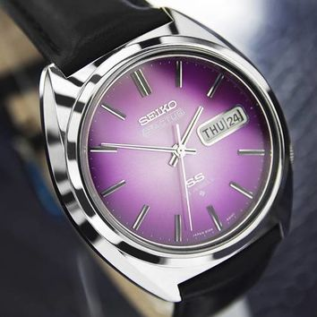 Mens Seiko 5 Actus Day Date Automatic Dress Watch 23-Jeweled, Purple Dial, #115