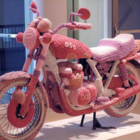 Knit Motorcycle Cozy sculpture by Theresa Honeywell
