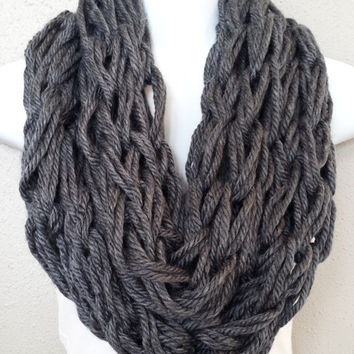 Soft Charcoal Grey Knitted Scarf Womens Fashion Knitted Scarves Fall Knitted Scarf Arm Knitted Scarf Chunky Fall Scarf