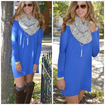 Time Well Wasted Royal Long Sleeve Dress