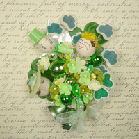 Vintage St Patricks Day Corsage My Irish Relatives Decoration Spun Cotton Leprechauns Shamrocks