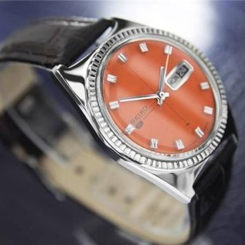 Mens Vintage Seiko Day Date Automatic Dress Watch, Orange Dial, c.1968 #110