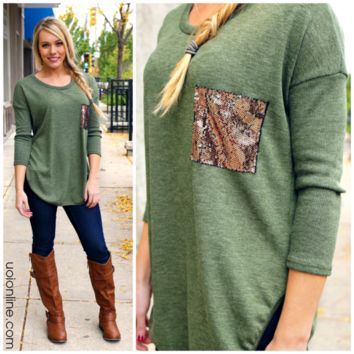 Touch of Sparkle Tunic - Olive - OLIVE GREEN /
