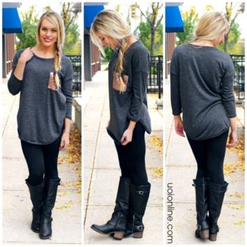 Touch of Sparkle Tunic - Charcoal - CHARCOAL /